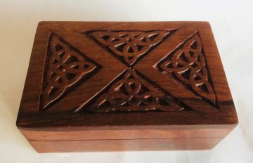 "CARVED 6x4"" CELTIC TRIANGLES Jewellery Trinket Box"